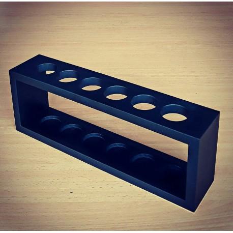 Rak Kayu Sample Tube Ø 30 mm with cork stopper Lubang 6 Size L, Black