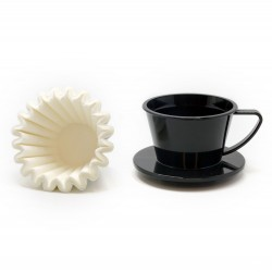Suji Wave Dripper 155 Black, White Paper Filter Wave