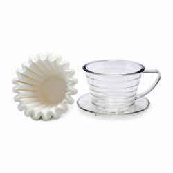 Suji Wave Dripper 155 Clear, White Paper Filter Wave