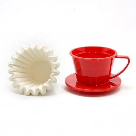 Suji Wave Dripper 155 Red Solid, White Paper Filter Wave